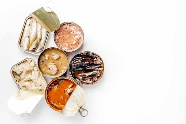 Assortiment van blikjes ingeblikt voedsel met verschillende soorten vis zalm, tonijn, makreel en sprot en zeevruchten tegen witte achtergrond met kopie ruimte voor uw tekst