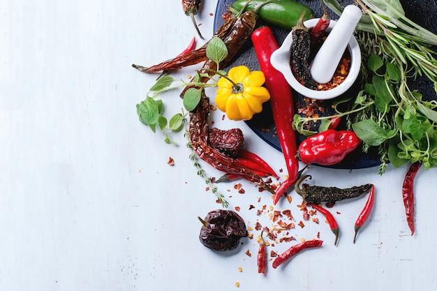 Assortiment van chili pepers en kruiden