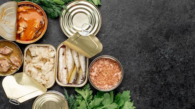 Assortiment van conservenblikken met verschillende soorten vis zalm, tonijn, makreel en sprot en zeevruchten op een stenen achtergrond met kopie ruimte voor uw tekst