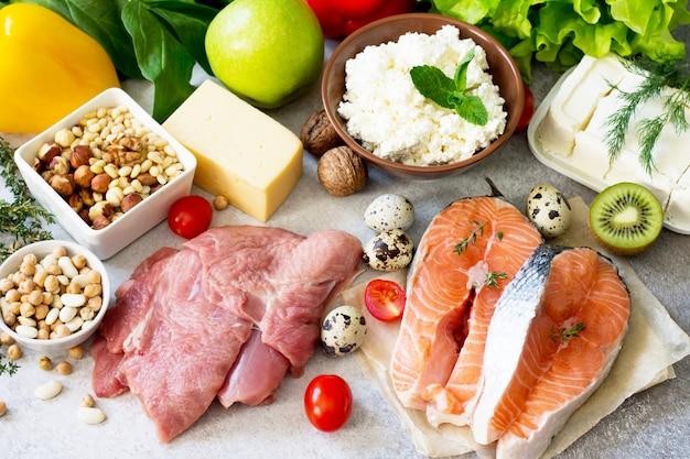Assortiment van een gezonde eiwitbron, superfoods.