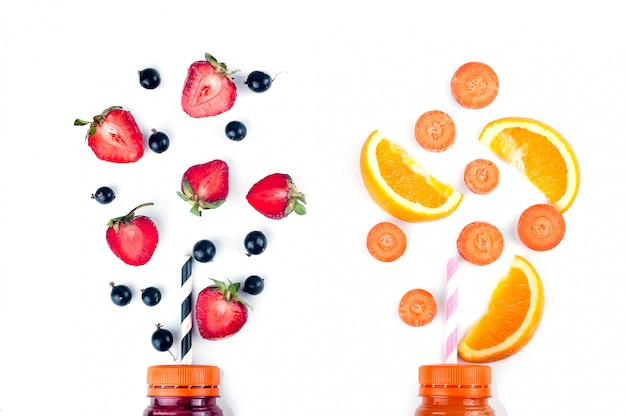 Assortiment van fruit en groenten smoothies
