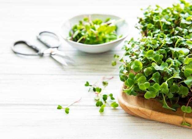 Assortiment van micro greens op witte houten achtergrond, kopie ruimte, bovenaanzicht. gezonde levensstijl
