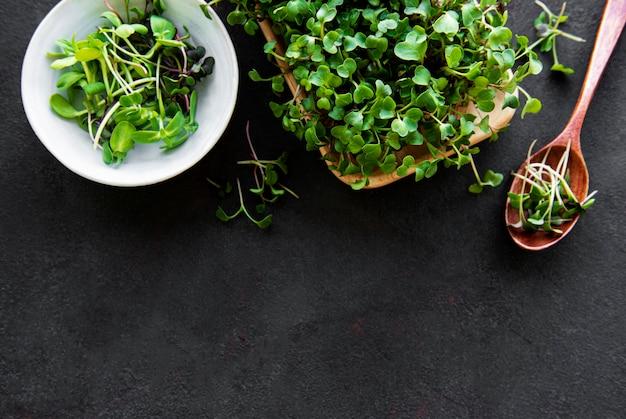 Assortiment van microgreens op zwarte achtergrond, kopie ruimte, bovenaanzicht. gezonde levensstijl