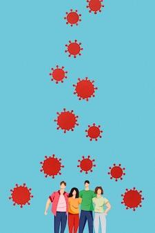 Assortiment van papier gemaakt coronavirus en familie