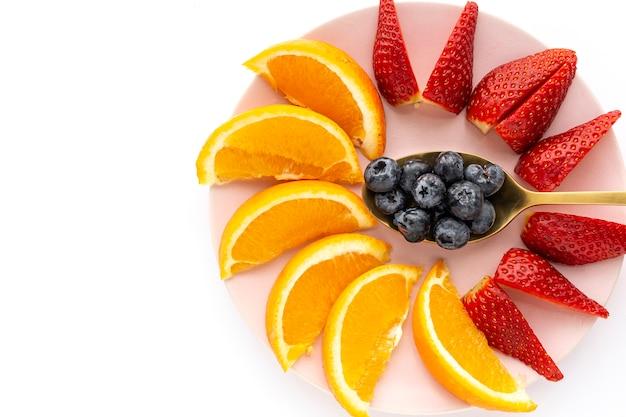 Assortiment van vers fruit van boven gezien