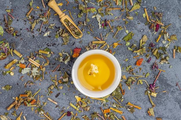 Assortiment van verschillende soorten droog theeblad in houten lepels en twee kopjes groene thee
