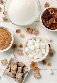 Assortiment van verschillende soorten suiker