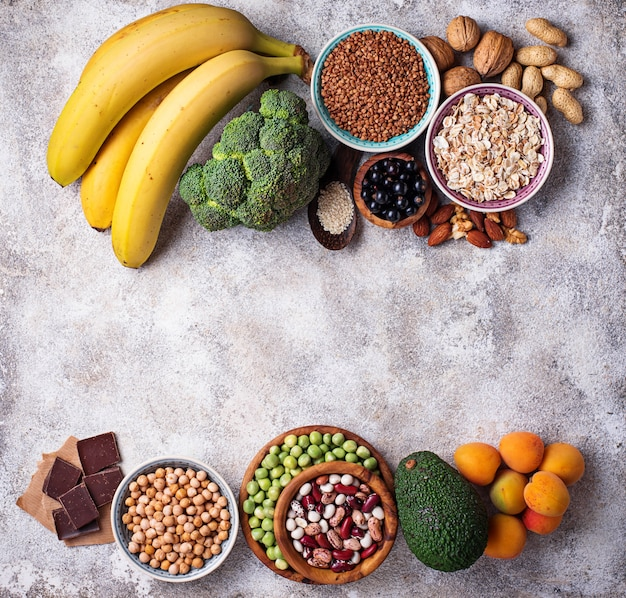 Assortiment voedsel dat magnesium bevat
