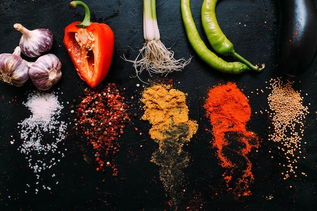 Assortiment voedselkruiden. zout mosterd peper paprika kurkuma knoflook op zwarte bord