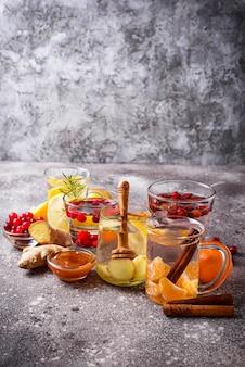 Assortiment winter gezonde thee voor immuniteitsverhoging