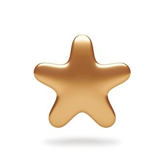 Asterisk gouden pictogram symbool of metalen gouden ster rating teken logo ontwerp en premium decoratie award illustratie element geïsoleerd