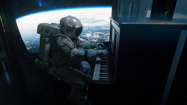 Astranaut in een ruimtepak speelt piano in een ruimteschip dat uitkijkt over de ruimte van de planeet aarde