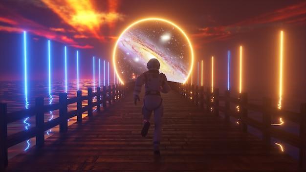 Astranaut loopt langs de eindeloze houten brug