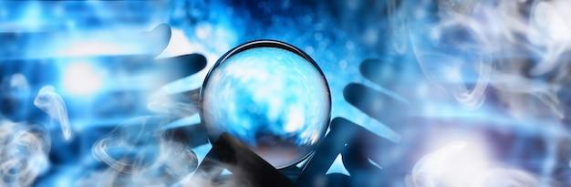 Astrologische achtergrond. kristallen bol met voorspellingen. horoscoop van de sterren. waarzeggerij en bepaling van het lot. waarzegger met een kristallen bol.