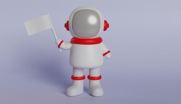 Astronaut 3d-rendering in rode en witte kleding