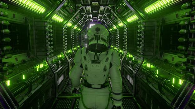 Astronaut die in ruimteschiptunnel loopt, sci-fi shuttle-gang. futuristische abstracte technologie. technologie en toekomstconcept. knipperend licht. 3d illustratie