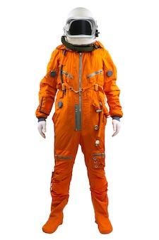 Astronaut geïsoleerd op een witte achtergrond. kosmonaut die ruimtepak draagt dat zich tegen witte achtergrond bevindt.