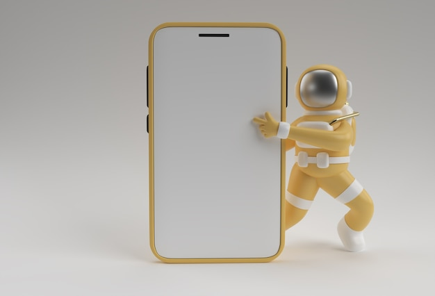 Astronaut hand wijzende vinger smartphone leeg schermsjabloon. abstracte trendy modieuze mockup. 3d-weergave van lege telefoon mobiele app.