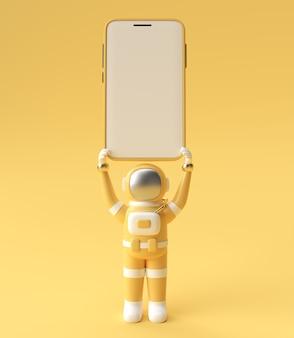 Astronaut holding smartphone leeg scherm sjabloon. abstracte trendy modieuze mockup. 3d-weergave van lege telefoon mobiele app.