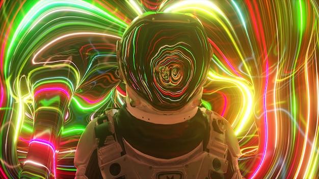 Astronaut in de vierde dimensie. neon-omgeving en heldere strepen. interstellair. sci-fi 3d illustratie