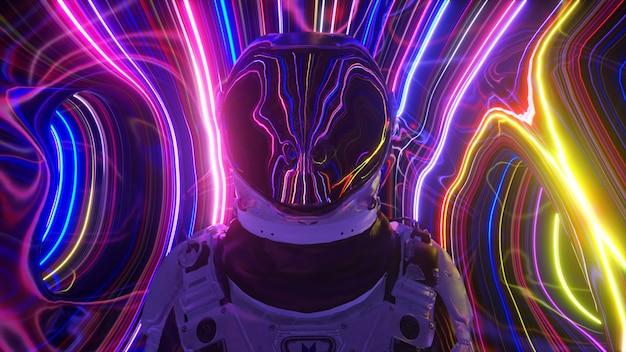 Astronaut in de vierde dimensie. neon-omgeving en heldere strepen. sci-fi 3d illustratie
