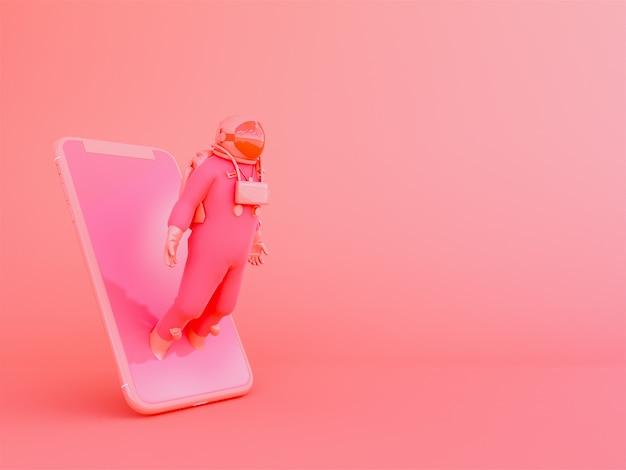 Astronaut met mobiele telefoon in living coralcolor achtergrond
