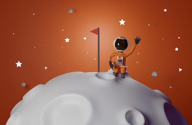 Astronaut met vlag staat op de maan 3d-rendering oranje toon