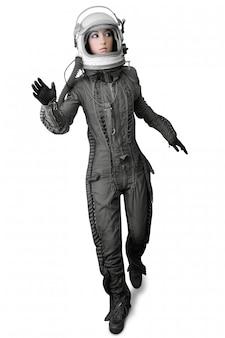 Astronaut mode stand vrouw ruimtepak helm
