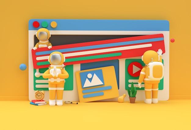 Astronaut namaste-gebaar voor banner voor webontwikkeling