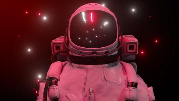 Astronaut omringd door knipperende neonlichten. muziek en nachtclub concept.