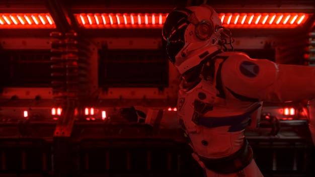 Astronaut rent door een tunnel naar een ander compartiment van de ruimtepoort. ruimteschip en technologie concept. 3d illustratie Premium Foto