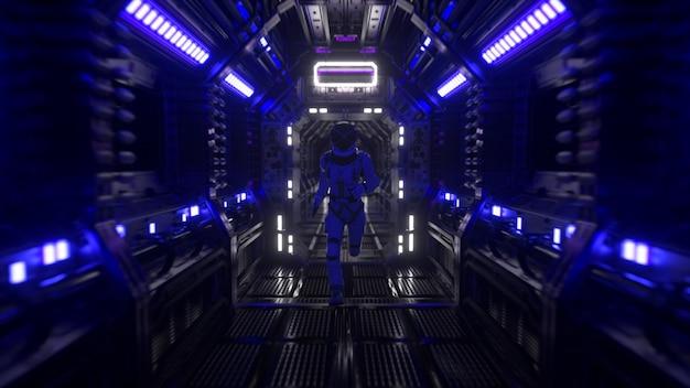Astronaut rent door een tunnel naar een ander compartiment van de ruimtepoort. ruimteschip en technologie concept. 3d illustratie