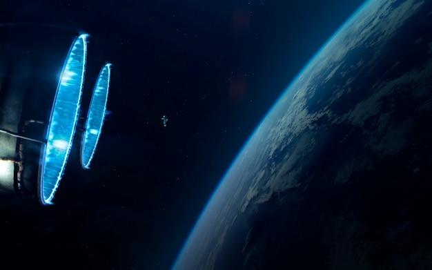 Astronaut. science fiction ruimtebehang, ongelooflijk mooie planeten, sterrenstelsels, donkere en koude schoonheid van een eindeloos universum.