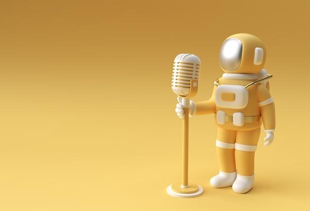 Astronaut zingen in vintage microfoon 3d render design.