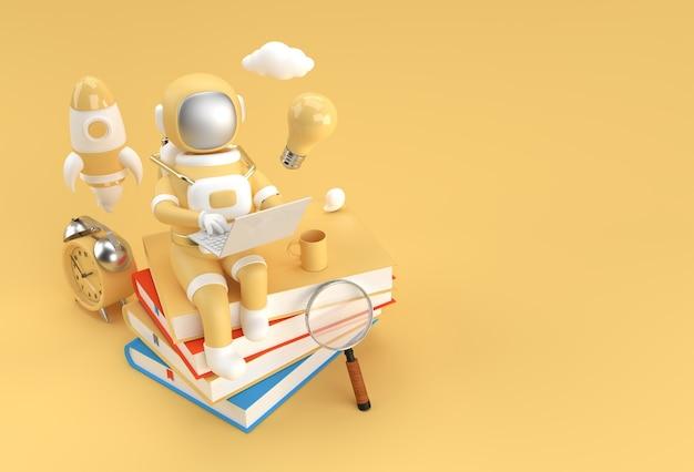 Astronaut zittend op stapel boeken met het werken op laptop 3d render illustratie.