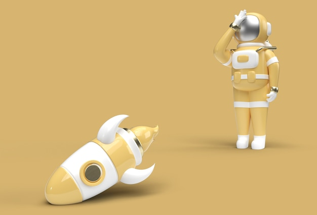 Astronautraket valt naar beneden teleurstelling pengereedschap van gebaar gemaakt uitknippad opgenomen in jpeg gemakkelijk te componeren.