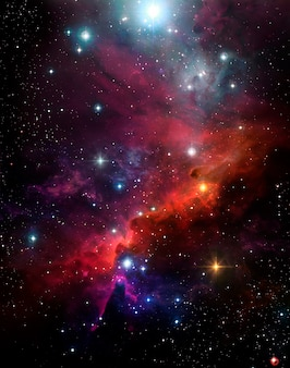 Astronomische abstracte achtergrond met sterrenhemel kleurrijke nevel buitenste plasma shine sky space