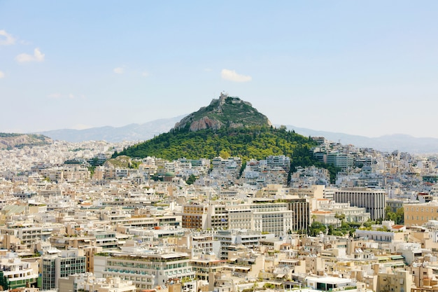 Athene stadsgezicht van de akropolis, griekenland.