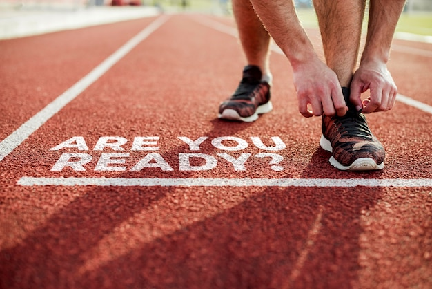 Atleet klaar om mee te rennen ben je klaar bericht