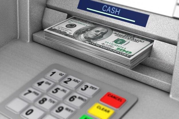Atm-machine die dollarbankbiljetten extreme close-up terugtrekt. 3d-rendering