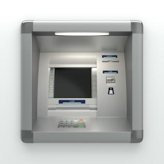Atm-machine met een kaartlezer. displayscherm, knoppen, geldautomaat, bonprinter. pincodeveiligheid, automatisch bankieren, elektronische geldopname, concept voor toegang tot bankrekeningen. 3d illustratie