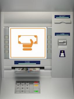 Atm-machine met geldopname-pictogram en bankbiljetten in de geldsleuf. online betaling, geldopname, geld overmaken, geld teruggeven van bankschuldconcept. 3d illustratie