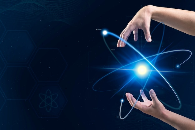 Atom biotechnologie nucleaire geneeskunde met de handen van de wetenschapper digitale transformatie remix