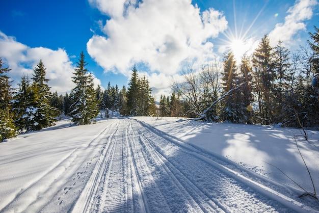 Atv en ski-tracks in de sneeuw op ijzige winterdag
