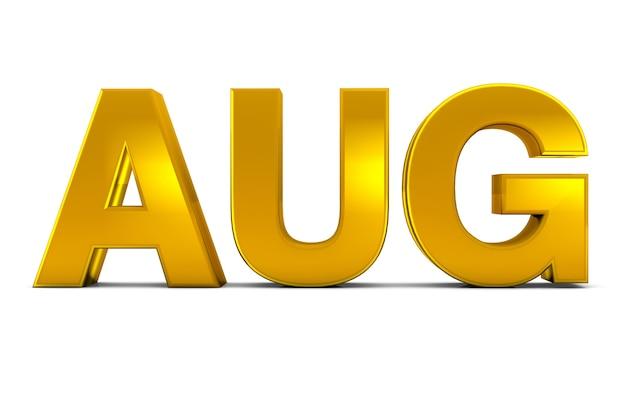 Aug goud 3d-tekst - augustus maand afkorting geïsoleerd op een witte achtergrond. 3d render.