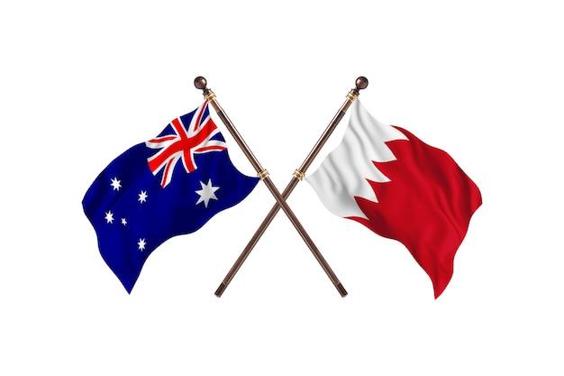 Australië versus bahrein vlaggen achtergrond