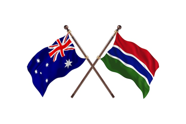 Australië versus gambia de vlaggenachtergrond