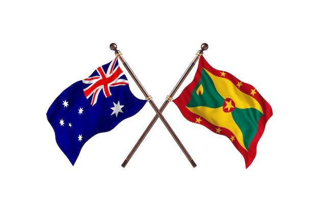 Australië versus grenada vlaggen achtergrond