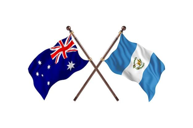 Australië versus guatemala vlaggen achtergrond