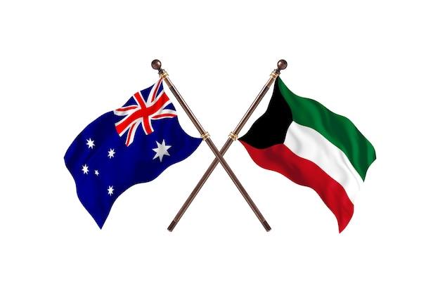Australië versus koeweit vlaggen achtergrond